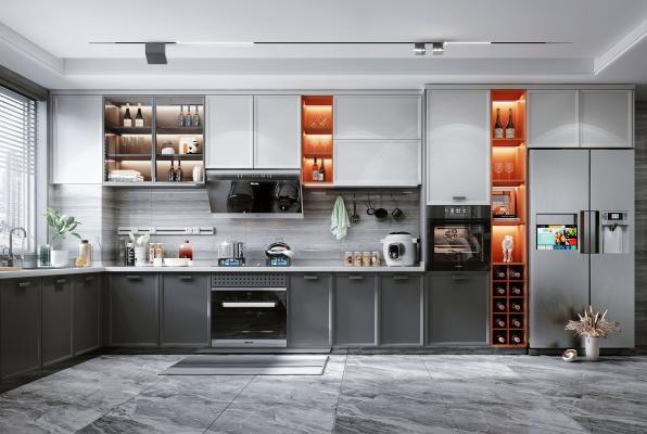 北欧风格厨房 橱柜 油烟机灶具 冰箱