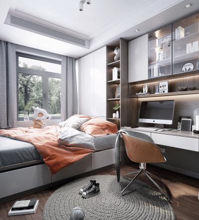 现代风格榻榻米房间 书桌 书柜