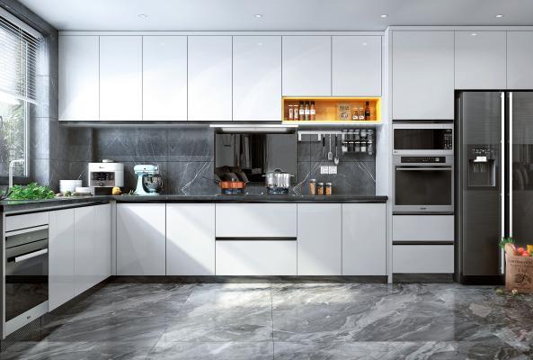 現代風格廚房 櫥柜 冰箱 蒸烤箱