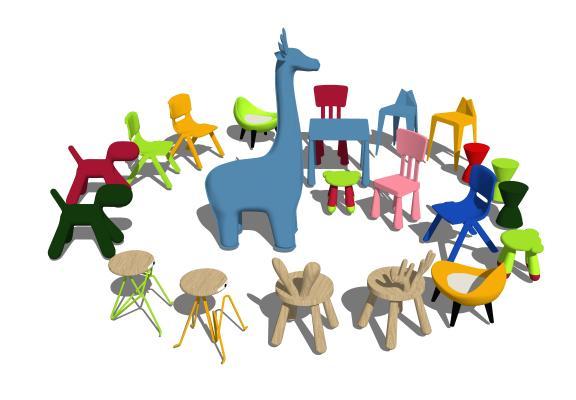 现代儿童凳子 玩具组合