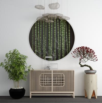 新中式实木端景台 玄关柜