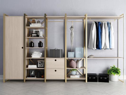 现代开放式衣柜 饰品组合