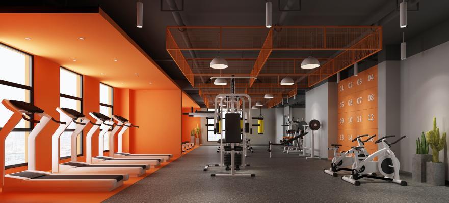 工业风健身房 吊灯 健身器材
