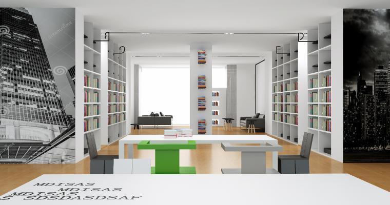 现代图书馆 自习室 阅览室 书柜 书桌 椅子 沙发 茶几 植物