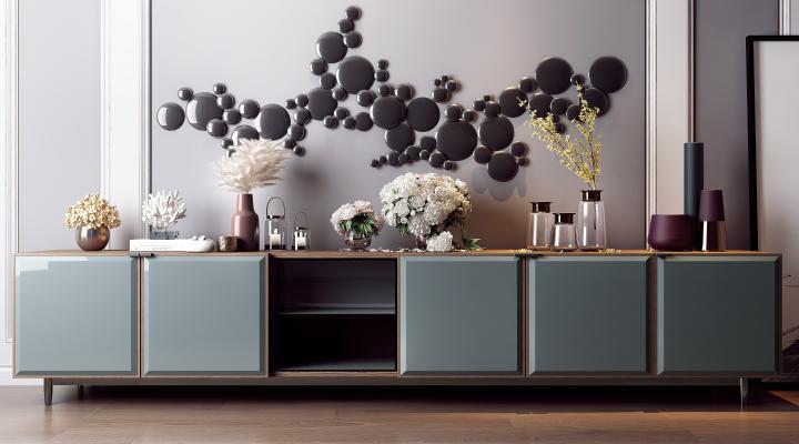 现代装饰柜 花瓶组合