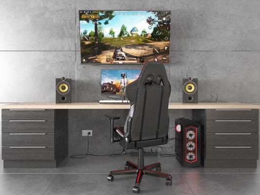 后现代电脑 主机 书桌