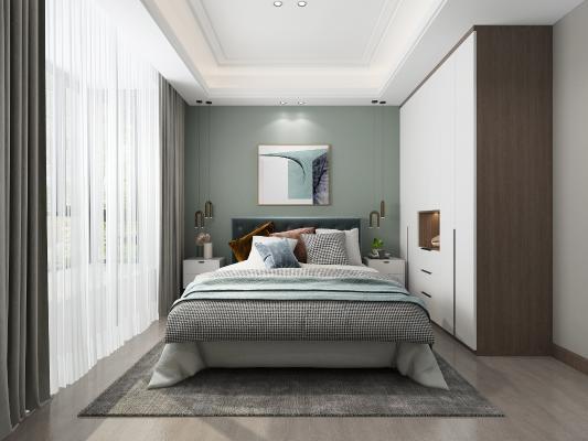 现代轻奢卧室 吊灯 挂画