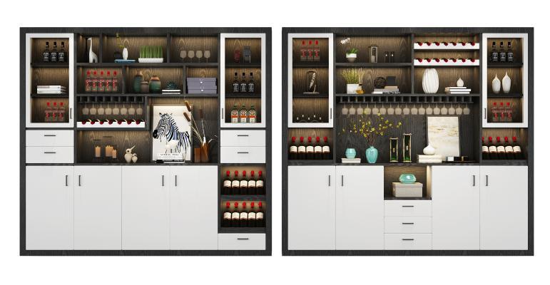 现代酒柜摆件组合