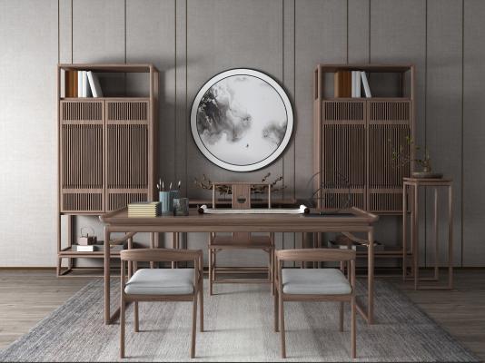 新中式风格书桌椅 博古架