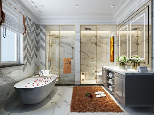 现代卫生间浴室 洗手盆 浴缸