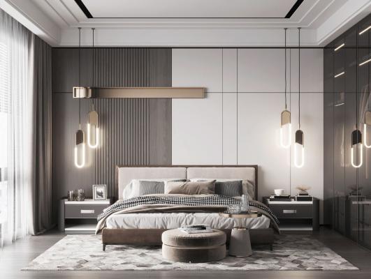 现代卧室 床 衣柜
