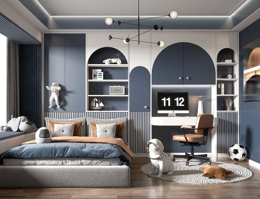 现代儿童房 男孩房 卧室