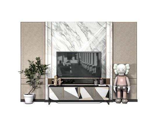 现代电视背景柜 电视背景墙 电视背景墙 电视机