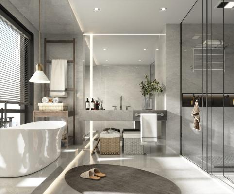 現代衛生間 衛浴柜 浴缸