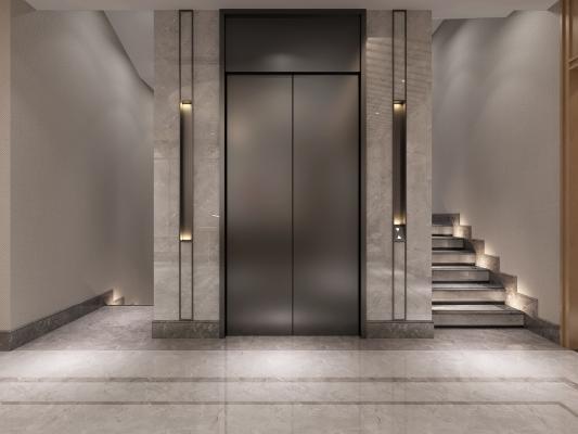 新中式电梯间 楼梯 电梯门
