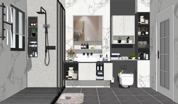 北欧风格家居卫生间 马桶 淋浴组合
