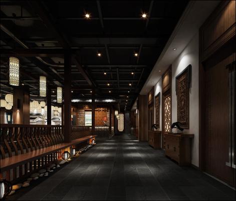 新中式风格过道 走廊