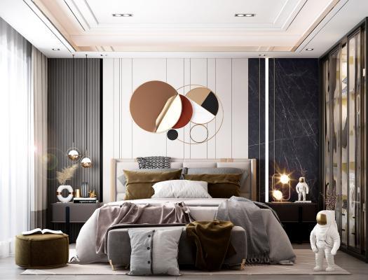 现代卧室 床 窗帘