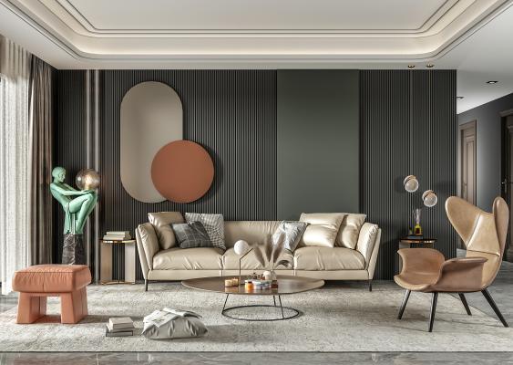 现代皮革沙发茶几组合