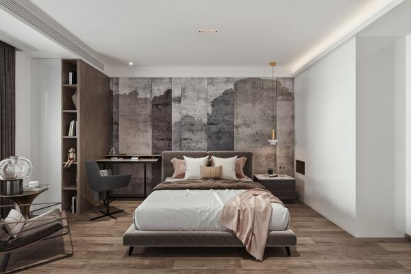 现代卧室 双人床 休闲椅