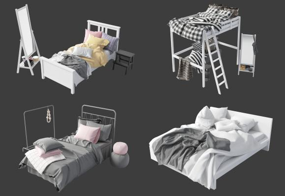 现代床具组合 双人床 单人床