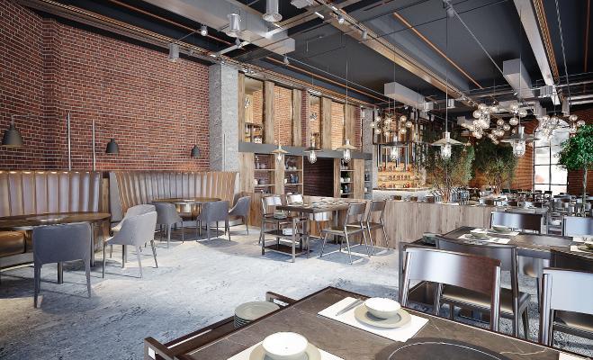 现代餐厅 餐饮 餐椅 火锅店 植物 吊灯