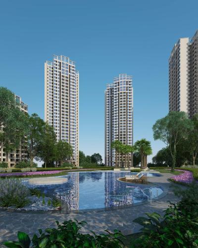 现代高层住宅 建筑外观 庭院水景