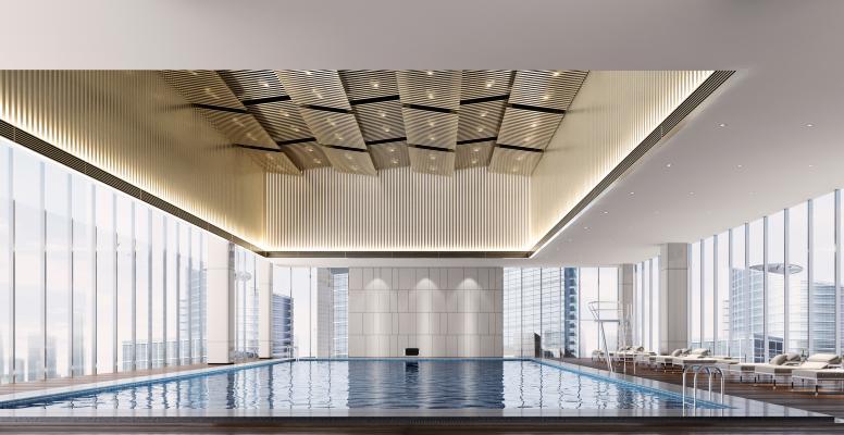 现代游泳馆 躺椅 室内游泳馆