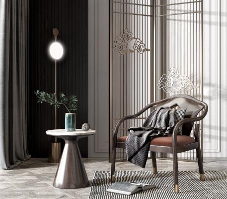 新中式单椅屏风组合