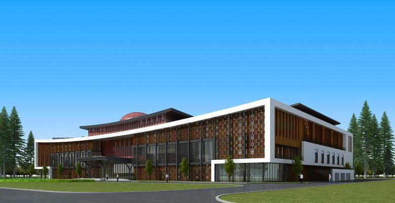 新中式办公楼 学校 教学楼