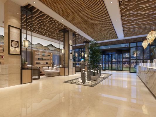 新中式酒店前台 休息区 竹子