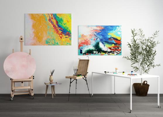 现代画板 画架 工作台