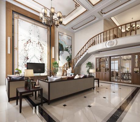 新中式别墅客厅 餐厅