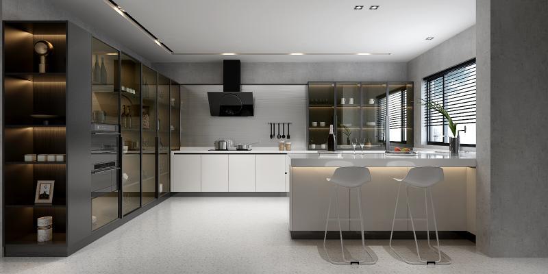 现代厨房橱柜吧台