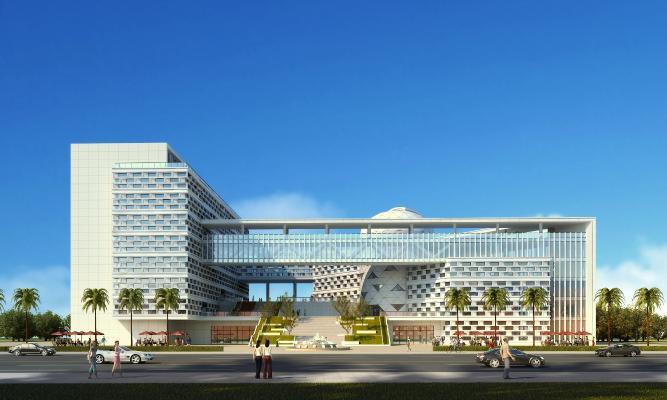 现代风格单体建筑 办公楼