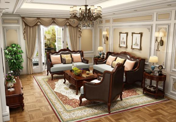 美式客厅多人沙发电视柜吊灯