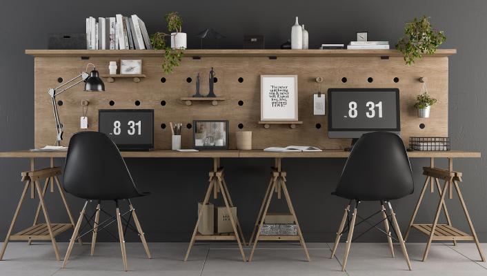 北欧办公桌椅 电脑 台灯