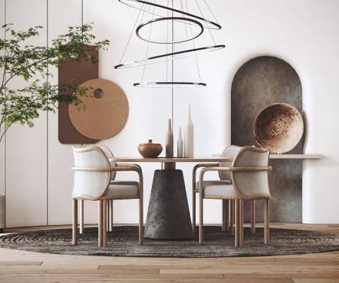 侘寂風餐桌椅組合 吊燈 裝飾擺件