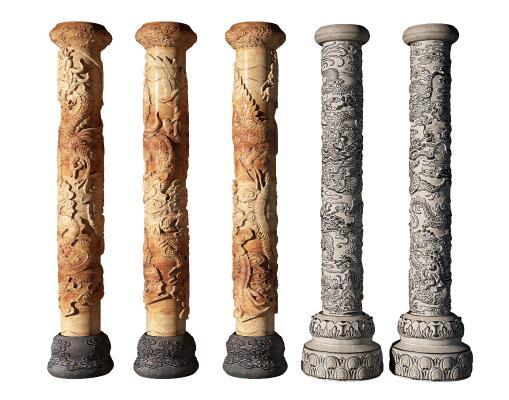 中式景观柱 盘龙柱