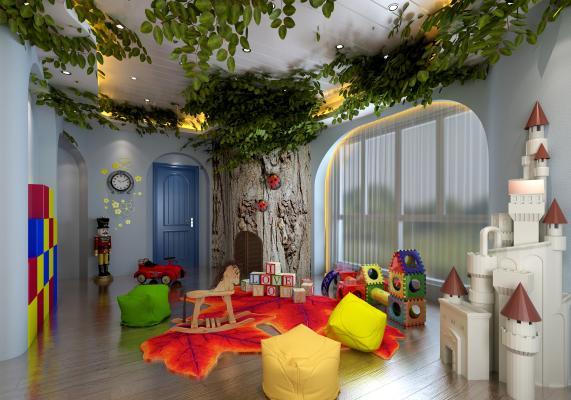 现代幼儿园娱乐室玩具摆件城堡组合