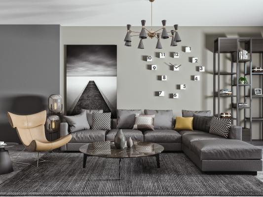 现代转角皮革沙发 茶几组合 黑色皮革沙发 单人沙发