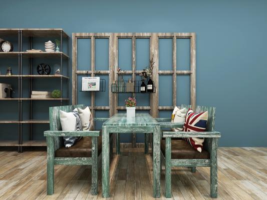 工業風復古咖啡廳桌椅 裝飾柜
