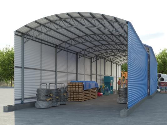 现代仓库 钢筋加工推拉棚