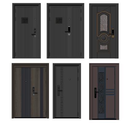 现代单开门 单元门