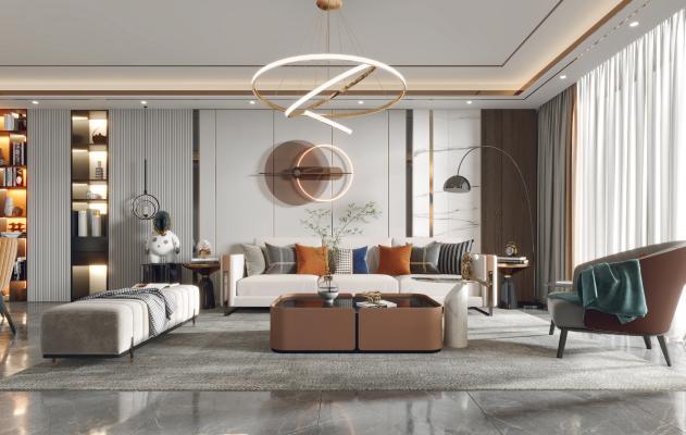 現代客餐廳 沙發 餐桌 電視柜 酒柜 吊燈 裝飾畫