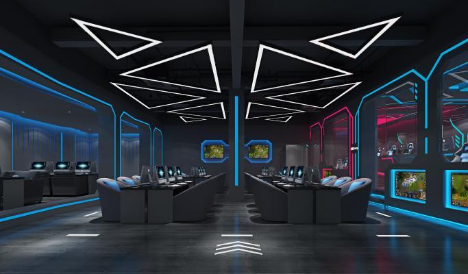 现代风格网咖 电竞椅 电脑