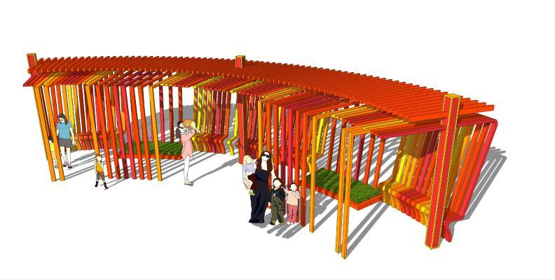现代儿童区廊架