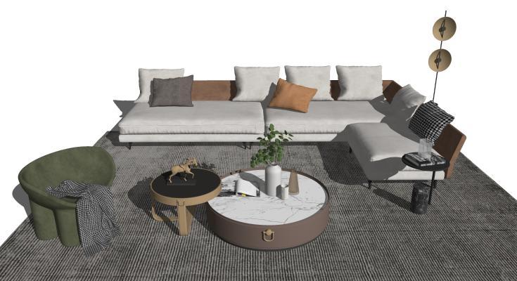 现代客厅 沙发茶几组合 落地灯