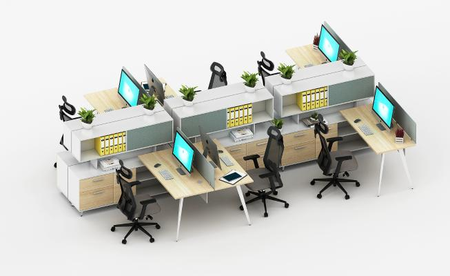 现代办公桌 工位 员工位