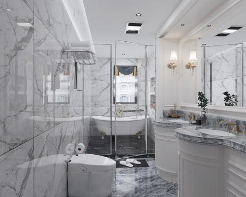 法式卫生间 浴室柜 淋浴房